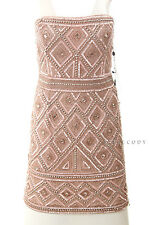 ADRIANNA PAPELL $229 NEW Womens 8176 Pink Strapless Beaded Shift Dress 12