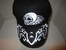 BLACK WITH SILVER SKULL FLAMES BASEBALL HAT CAP NWT