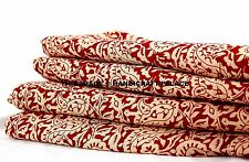 NEW MAROON PAISLEY 100% COTTON FABRIC by 5 Yard Indian Hand Print Curtain Fabric