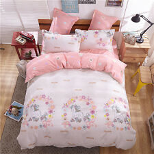 Pink  Decor Xmas Unicorn Single Size Bed Set Pillowcase Quilt Duvet Cover
