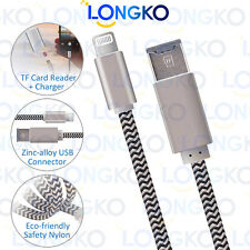 USB Data Cable micro SD card reader 8pin Lightning OTG for iPhone iPad Macbook