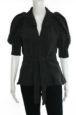 Antik Batik Gray Wool Short Puffed Sleeve Cardigan Sweater Size Medium