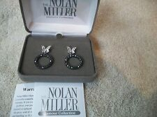 NOLAN MILLER Earrings Dainty Butterfly Silvertone Dangle ClipON Austrian Crystal