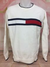Vintage 1990's TOMMY HILFIGER Mens Knit Off White Colorblock Sweater Japan Small