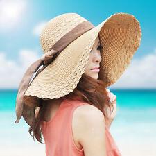 US New Womens Wide Large Brim Floppy Summer Beach Sun Hat Straw Cap with Big Bow
