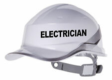 2X ELECTRICIAN Hard Hat vinyl decal. Warehouse sticker CHOOSE COLOUR & FONT