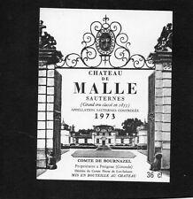 SAUTERNES 2E GCC ETIQUETTE CHATEAU DE MALLE 1973 36 CL RARE  §11/03/16§