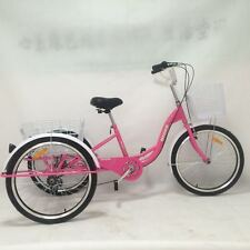 "Brand New Pink 24"" 6 Speed Shimano Gears Adult Tricycles Cargo Bike"