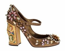 NEW DOLCE & GABBANA Shoes Gold Leather Crystal Heel Mary Janes Pumps EU38.5 /US8