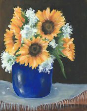 Pretty cobalt blue jar with sunflowers print reproduction of my original paintin