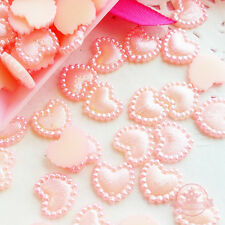 40 pcs 10mm Heart Pearlized Flatback Cabochon Decoden Faux Pearl