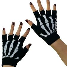 Gothic Knitted Black with White Skeleton Bones Fingerless Gloves Punk Rock Skull