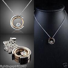 Swarovski ElementOriginal Design Silber Gold Halskette Klassik 2 Ringe / 078