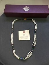 PAST TIMES Oxford LAPIS PEARL & MALACHITE 3-Strand NECKLACE
