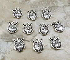 Ten (10) Pewter Owl Charms - 0744