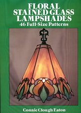 FLORAL Stained Glass LAMPSHADES Pattern Book, 46 Full-size designs