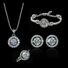 Chic 18K White Gold GP Crystal Earrings Necklace Bracelet Ring Set Sa04