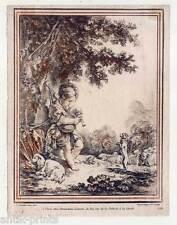Boucher-Demarteau-Farbstich 1750-Dudelsack-Musik-Schäfer-Kind-Schafe-Hund-Hunde