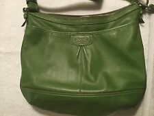 COACH GREEN LEATHER HIPSTER SHOULDER BAG ADJ. STRAP EXTRA LARGE