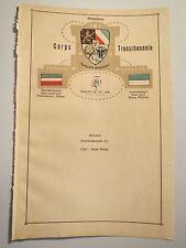 München - Corps Transrhenania Wappen Zirkel Couleur - um 1910 Tafel / Studentika