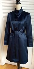 Michael Kors Midnight Navy Blue Satin Tafetta Long Sleeve Evening Coat Petite L