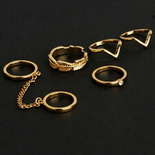 USA 6pcs Set Gold Urban Rings Crystal Above Knuckle stacking Band Midi Mid Ring
