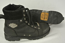 $150 MINTY! HARLEY DAVIDSON RENZO Boots Sz 9.5 Men Black Mid-Cut Riding Zip shoe