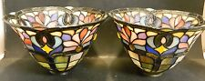 Vintage Pair of Tiffany Style Leaded Stained Glass Shades Sconce? Excellent Cond