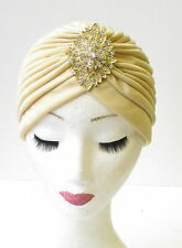 Caramel Cream Gold Diamante Turban Vintage Flapper 1920s Headpiece Cloche 1221