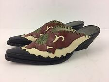 BCBG Girls Western Mules Women's Size 7 1/2 B Leather With Cut Outs EU 37 1/2