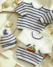 """Baby Knitting pattern Striped Sweater with Boat motif & Hat DK12-24""""  518"""
