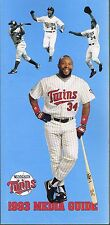 1993 Minnesota Twins MLB Baseball Puckett Media GUIDE
