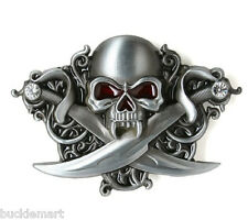 Pirate Letter of Marque Skull with Blades Belt Buckle AMAZING DETAIL Vampire