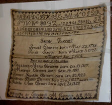 ANTIQUE RARE 1831 NEEDLEPOINT SAMPLER CLEMENT FAMILY RECORD STROW  EMBROIDERY