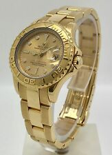 Rolex Yacht-Master 18K Gold Champagne Dial Ref 69628 Ladies Watch 1985