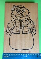 SNOW LADY with clothing rubber stamp by Azadi Earles