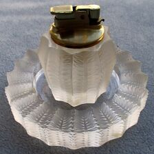 Lalique Crystal Jamaique Smoking Set Cigarette Lighter &Ashtray France Mint