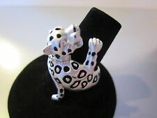UNIQUE TIBET SILVER LADIES LEOPARD RING CRYSTAL LIKE ACCENTS BLACK SPOTS