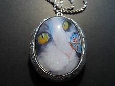 STERLING SILVER PLATED CAT BUTTERFLY KISSES LOCKET