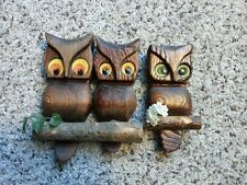 Vintage Carved Wooden Owl Wall Hangings