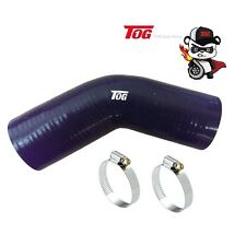 TOG 3.5 INCH 89MM 45 DEGREE SILICONE HOSE BEND ELBOW BLACK- 125MM LONG + CLAMPS