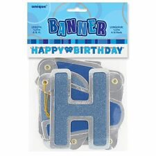 "50"" Happy Birthday Blue Sparkle Jointed Letter Banner Party Decoration"