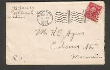 1908 cover J Jacobs Madison WI to H L Ayers Colona Station
