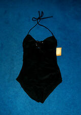 SEXY BLACK SHINY HEART BUCKLE 1-PIECE SWIMSUIT SWIM SUIT SIZE 3 - 5  SMALL NWT