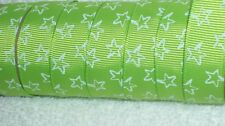 "STAR Grosgrain Ribbon, Hairbow, Korker, Christmas Crafts, 3/8"" Lime, Gift Wrap 5"