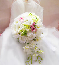 Handmade Cascade Wedding Bridal Bouquet &Boutonniere Artificial Brooch Flowers
