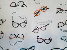 Glasses Eye Glass Sewing Eyewear Colors White Cotton Fabric FQ