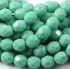 25 Czech Glass Faceted Round Beads - Opaque Turquoise 6mm