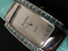 """Fred Belay Ladies Watch Green Stone bezel & Green Leather 7"""" Band Very nice A+"""