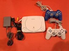Slim PlayStation System Console PS1 PSOne + 2 Controllers Crystal Blue [Tested]